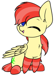 Size: 737x1019 | Tagged: safe, artist:acersiii, oc, oc only, oc:jay mihay, pegasus, pony, clothes, cute, simple background, socks, solo, striped socks, transparent background