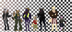 Size: 5000x2250 | Tagged: safe, artist:iideekayart, oc, oc:adalrik, oc:golan, oc:leo, oc:lionel, oc:macaria, oc:sophie, oc:verum, abyssinian, cat, diamond dog, dog, dragon, earth pony, german shepherd, minotaur, persian, fanfic:check mate, amputee, character line up, checkmate, clothes, eskimo, fan comic, fanfic art, goth, jersey, parka, pokémon, prosthetic leg, prosthetic limb, prosthetics, school uniform, walking stick