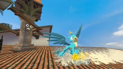 Size: 1280x720 | Tagged: safe, artist:horsesplease, gallus, 3d, crowing, gallus the rooster, gmod