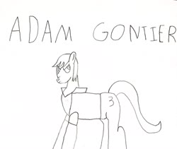 Size: 3022x2556 | Tagged: safe, alternate version, artist:undeadponysoldier, pony, adam gontier, angry, clothes, jacket, leather jacket, lineart, male, pencil drawing, ponified, signature, singer, solo, stallion, three days grace, traditional art