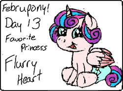 Size: 292x217   Tagged: safe, artist:brightstarclick, princess flurry heart, alicorn, februpony, foal, solo