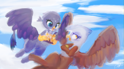 Size: 3840x2162 | Tagged: safe, artist:choyamy, gabby, gilda, griffon, cloud, crossed arms, cute, duo, female, flying, food, griffon scone, high res, open mouth, plastic bag, profile, sky, spread wings, wings