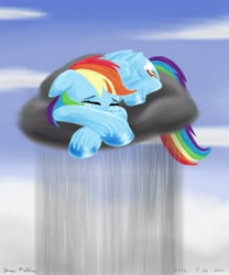 Size: 1920x2304 | Tagged: safe, artist:rockhoppr3, rainbow dash, pegasus, pony, cloud, crying, female, floppy ears, lying on a cloud, mare, on a cloud, rain, raincloud, sad, solo
