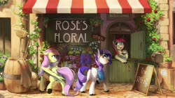Size: 4096x2304 | Tagged: safe, artist:anticular, fluttershy, rarity, roseluck, earth pony, horse, pegasus, pony, unicorn, bag, barrel, butt, cute, cutie mark, daytime, female, flower, flower shop, high res, mailbox, mare, open mouth, outdoors, plot, raised hoof, rose, saddle bag, sale, shop, shopping, sign, smiling, store, street, trio, unshorn fetlocks
