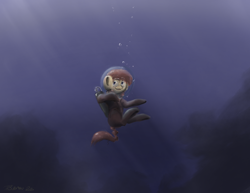 Size: 3300x2550 | Tagged: safe, artist:th3ipodm0n, pony, bubble, large ears, smiling, solo, underwater, water
