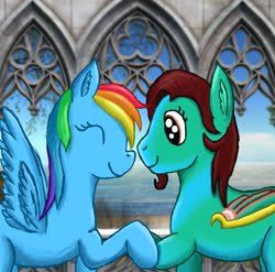 Size: 1148x1133 | Tagged: safe, artist:peterhrod656, rainbow dash, oc, oc:bluphy hooves, pegasus, artificial wings, augmented, bluphydash, canon x oc, cute, hoof hold, mechanical wing, wings