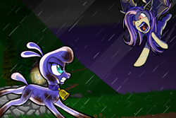 Size: 1798x1198 | Tagged: safe, artist:redahfuhrerking, fluttershy, pom lamb, bat pony, lamb, pegasus, sheep, them's fightin' herds, bat ponified, community related, crossover, fight, flutterbat, race swap, rain