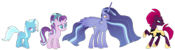 Size: 2095x600 | Tagged: safe, artist:xanthicsolarian, starlight glimmer, tempest shadow, trixie, twilight sparkle, alternate universe, female, lesbian, polyamory, shipping, simple background, startrix, tempestglimmer, tempestlight, tempestrix, transparent background, twistarlight, twixie, twixstar