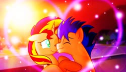 Size: 1920x1109 | Tagged: artist needed, safe, flash sentry, sunset shimmer, pony, boop, cute, eyes closed, female, flashimmer, male, noseboop, one eye closed, shipping, straight