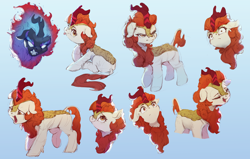 Size: 4000x2550 | Tagged: safe, artist:vanillaghosties, autumn blaze, kirin, nirik, angry, expressions, eyes closed, facial expressions, female, gradient background, shrunken pupils, sitting, sketchy, smiling, solo, tongue out