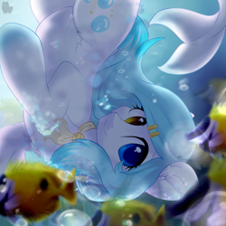 Size: 2449x2449 | Tagged: safe, artist:alphadesu, oc, oc only, fish, merpony, absurd resolution, blue mane, blurred background, bubble, eyes open, female, fish tail, gradient hooves, hairpin, heterochromia, looking at you, ocean, smiling, solo, sunlight, swimming, underwater, upside down, water