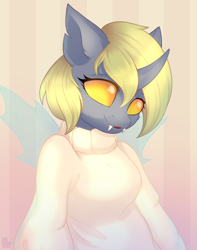 Size: 2172x2761 | Tagged: safe, artist:alphadesu, derpy hooves, anthro, changeling, abstract background, bust, changelingified, clothes, fangs, solo, species swap, sweater