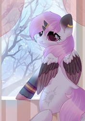 Size: 2059x2912 | Tagged: safe, artist:alphadesu, oc, oc only, oc:neapolitan, bicorn, colored ears, colored wings, curved horn, ear piercing, earring, horn, horn ring, jewelry, looking at you, piercing, snow, snowfall, solo, tree, unshorn fetlocks, wings, winter
