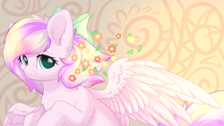 Size: 1920x1080 | Tagged: safe, artist:alphadesu, oc, oc only, oc:iridescent flings, pegasus, pony, abstract background, bow, chest fluff, cute, ear fluff, female, flower, flower in hair, hair bow, looking at you, mare, ocbetes, smiling, solo, spread wings, wings