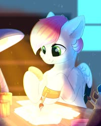 Size: 1024x1280 | Tagged: safe, artist:alphadesu, oc, oc only, pony, brush, desk, drawing, easter, easter egg, holiday, hoof hold, sitting, solo
