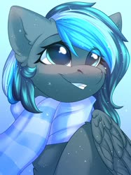 Size: 1024x1366   Tagged: safe, artist:alphadesu, oc, pegasus, pony, bust, chest fluff, clothes, ear fluff, female, gradient background, looking up, mare, scarf, smiling, solo, winter
