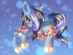 Size: 1024x768   Tagged: safe, artist:alphadesu, oc, oc only, bat pony, pony, bat pony oc, bat wings, bells, bridle, cloven hooves, collar, colored hooves, ear fluff, female, freckles, harness, mare, snow, snowfall, solo, tack, wings, winter