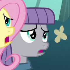 Size: 240x240 | Tagged: safe, screencap, fluttershy, maud pie, earth pony, pony, unicorn, maud pie (episode), cropped, distressed, female, mare, open mouth, solo focus
