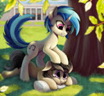 Size: 1194x1100 | Tagged: safe, artist:gouransion, dj pon-3, octavia melody, vinyl scratch, earth pony, pony, unicorn, fanfic:university days, duo, duo female, female, leaves, mare, prone, tree
