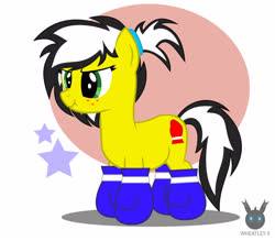 Size: 1418x1241 | Tagged: safe, artist:wheatley r.h., derpibooru exclusive, oc, oc only, oc:uppercute, earth pony, pony, boxing gloves, female, mane, mare, simple background, solo, vector, watermark, wavy mouth