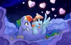Size: 1280x818 | Tagged: safe, artist:rutkotka, bow hothoof, windy whistles, pegasus, pony, couple, female, holiday, husband and wife, male, shipping, straight, valentine's day, windyhoof