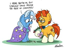 Size: 1024x752 | Tagged: safe, artist:bobthedalek, sunburst, trixie, pony, unicorn, backwards cutie mark, blaze (coat marking), bouquet, bowtie, eating, female, flower, hearts and hooves day, herbivore, hoof hold, horses doing horse things, implied shipping, implied starburst, implied straight, inconvenient trixie, male, mare, socks (coat markings), stallion, sunburst is not amused, unamused