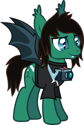 Size: 660x982 | Tagged: safe, artist:lightningbolt, derpibooru exclusive, bat pony, pony, .svg available, bat ponified, bat wings, bring me the horizon, camera, clothes, ear fluff, fangs, male, ponified, race swap, shirt, simple background, slit eyes, smiling, solo, stallion, standing, svg, t-shirt, tom sykes, transparent background, vector, wings