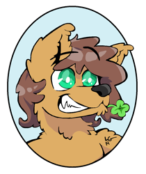 Size: 948x1126   Tagged: safe, artist:lucas_gaxiola, oc, oc only, oc:charmed clover, wolf, anthro, digitigrade anthro, bust, clover, flower, flower in mouth, four leaf clover, grin, mouth hold, simple background, smiling, solo, species swap, white background