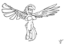 Size: 2424x1672 | Tagged: safe, artist:lucas_gaxiola, oc, oc only, pegasus, pony, amputee, artificial wings, augmented, crossed arms, flying, male, prosthetic limb, prosthetic wing, prosthetics, signature, smiling, solo, spread wings, stallion, unshorn fetlocks, wings