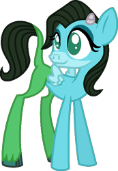 Size: 459x664 | Tagged: safe, artist:starryoak, oc, oc only, oc:bashful bluebelle, hybrid, miracleverse, female, filly, horns, interspecies offspring, no pupils, offspring, parent:fluttershy, parent:iron will, parents:ironshy, simple background, solo, transparent background