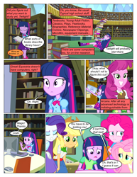 Size: 612x792 | Tagged: safe, artist:greatdinn, artist:newbiespud, edit, edited screencap, screencap, applejack, cheerilee, fluttershy, pinkie pie, rarity, twilight sparkle, comic:friendship is dragons, equestria girls, book, clothes, comic, computer, cutie mark, cutie mark on clothes, dialogue, eyes closed, female, frown, grin, incomplete twilight strong, library, screencap comic, sitting, smiling