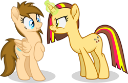 Size: 4476x2898 | Tagged: safe, artist:peahead, oc, oc only, oc:cherry lights, oc:stellar winds, pegasus, pony, unicorn, angry, blue eyes, female, folded wings, green eyes, magic, magic aura, mare, raised hoof, scrunch, scrunchie, scrunchy face, shocked, shocked expression, shocked eyes, shocked face, simple background, standing, transparent background, vector, wings