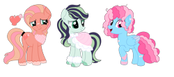 Size: 6966x3083 | Tagged: safe, artist:pastel-goth-gal, oc, oc only, unnamed oc, bandaid, cape, clothes, cutie mark, female, fluffy hooves, handkerchief, heart, hoof warmers, magical lesbian spawn, next generation, offspring, parent:applejack, parent:big macintosh, parent:coloratura, parent:fluttershy, parent:pinkie pie, parent:rainbow dash, parents:fluttermac, parents:pinkiedash, parents:rarajack, simple background, tail wrap, transparent background