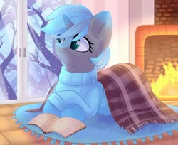 Size: 1280x1047 | Tagged: safe, artist:alphadesu, oc, oc only, oc:rion, pony, unicorn, book, clothes, crossed hooves, ear fluff, female, fireplace, indoors, mare, reading, snow, snowfall, solo, sweater, tree, window, winter