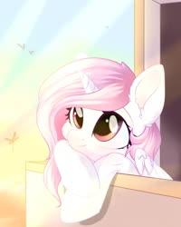 Size: 1024x1280 | Tagged: safe, artist:alphadesu, princess celestia, alicorn, pony, balcony, bust, cewestia, cheek fluff, cute, cutelestia, ear fluff, female, filly, mare, pink-mane celestia, sky, solo, sunset, young celestia, younger