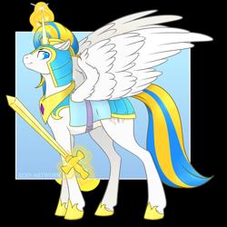 Size: 1920x1920 | Tagged: safe, artist:acry-artwork, oc, oc only, oc:prince sentinel, oc:sentinel, alicorn, pony, alicorn oc, armor, glowing horn, horn, magic, royal guard, royal guard armor, solo, sword, telekinesis, weapon