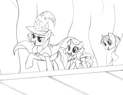 Size: 1022x786 | Tagged: safe, artist:blazelupine, trixie, oc, oc:pickles, oc:stardust, pony, unicorn, adopted offspring, canon x oc, cape, clothes, cutie mark, female, filly, hat, horn, male, monochrome, parent:oc:pickles, parent:trixie, parents:canon x oc, parents:trikles, shipping, simple background, stage, straight, traditional art, trikles, trixie's cape, trixie's hat, white background