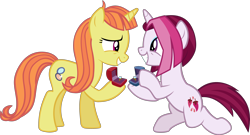 Size: 3678x1991 | Tagged: safe, artist:ironm17, cayenne, citrus blush, unicorn, the big mac question, spoiler:s09e23, citruyenne, duo, engagement ring, female, lesbian, mare, marriage proposal, raised hoof, ring, shipping, simple background, smiling, transparent background, vector