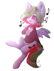 Size: 778x1027 | Tagged: safe, artist:keltonia, oc, oc:precised note, pegasus, pony, bowtie, button, clothes, cutie mark, hoof on chest, looking up, note, open mouth, simple background, singing, sitting, smiling, spread wings, suit, transparent background, tuxedo, two toned mane, watermark, wings