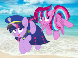 Size: 1440x1080 | Tagged: safe, artist:rainbow eevee, artist:徐詩珮, twilight sparkle, oc, oc:bubble sparkle, alicorn, series:sprglitemplight diary, series:sprglitemplight life jacket days, series:springshadowdrops diary, series:springshadowdrops life jacket days, alicorn oc, clothes, female, magical lesbian spawn, magical threesome spawn, mother and child, mother and daughter, mother's day, multiple parents, next generation, offspring, parent:glitter drops, parent:spring rain, parent:tempest shadow, parent:twilight sparkle, parents:glittershadow, parents:sprglitemplight, parents:springdrops, parents:springshadow, parents:springshadowdrops, paw patrol, swimsuit, twilight sparkle (alicorn)