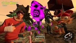 Size: 1024x576 | Tagged: safe, artist:johnathon-matthews, oc, oc:khunis jirall, oc:wandering sunrise, alicorn, deathclaw, human, pony, 3d, armor, deviantart watermark, fallout, gmod, heavy, it just works, missing textures, obtrusive text, obtrusive watermark, power armor, scout, screenshots, team fortress 2, todd howard, watermark