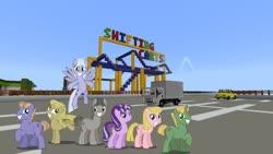 Size: 1334x750 | Tagged: safe, artist:vector-brony, edit, editor:topsangtheman, offbeat, starlight glimmer, earth pony, pegasus, pony, unicorn, car, minecraft, roller coaster, truck