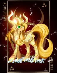 Size: 3928x5000 | Tagged: safe, artist:zidanemina, applejack, earth pony, pony, armor, crossover, digital art, female, helmet, mare, part of a series, part of a set, saint seiya, smiling, solo