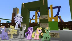 Size: 1334x750 | Tagged: safe, artist:vector-brony, edit, editor:topsangtheman, offbeat, starlight glimmer, earth pony, pegasus, pony, unicorn, the cutie map, minecraft, roller coaster