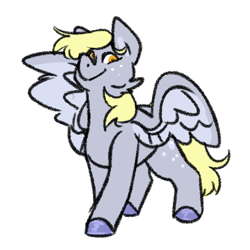 Size: 1280x1280 | Tagged: safe, artist:gnomehuts, derpy hooves, pegasus, pony, colored hooves, female, freckles, looking at you, mare, simple background, solo, spread wings, white background, wings
