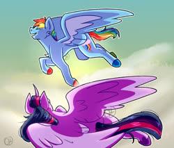 Size: 2048x1745 | Tagged: safe, artist:gnomehuts, rainbow dash, twilight sparkle, alicorn, pegasus, pony, colored hooves, eyes closed, female, flying, lesbian, mare, shipping, twidash, twilight sparkle (alicorn)