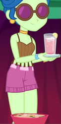 Size: 423x863 | Tagged: safe, screencap, laurel jade, equestria girls, equestria girls series, sunset's backstage pass!, spoiler:eqg series, spoiler:eqg series (season 2), belt, beverage, bowl, clothes, collar, cropped, drink, food, glasses, hut, legs, lemon, midriff, plate, shirt, shorts, sleeveless, smiling, tassels, wristband