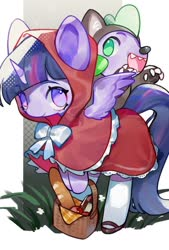 Size: 692x1024 | Tagged: safe, artist:kura, spike, twilight sparkle, alicorn, dragon, pony, animal costume, apple, baguette, basket, bread, clothes, cosplay, costume, crossover, cute, duo, female, food, little red riding hood, male, mare, no pupils, open mouth, spikabetes, twiabetes, twilight sparkle (alicorn), wolf costume