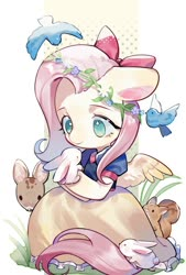 Size: 692x1024 | Tagged: safe, artist:kura, fluttershy, bird, pegasus, pony, rabbit, squirrel, animal, bow, clothes, crossover, cute, dress, fawn, female, floppy ears, floral head wreath, flower, hair bow, looking at something, mare, no pupils, princess, shyabetes, sitting, snow white, solo, spread wings, three quarter view, wings