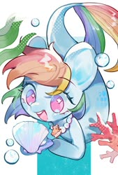Size: 692x1024   Tagged: safe, artist:kura, rainbow dash, merpony, pony, bubble, coral, cute, dashabetes, female, jewelry, necklace, no pupils, open mouth, pearl necklace, seashell, seashell necklace, seaweed, solo, the little mermaid, underwater